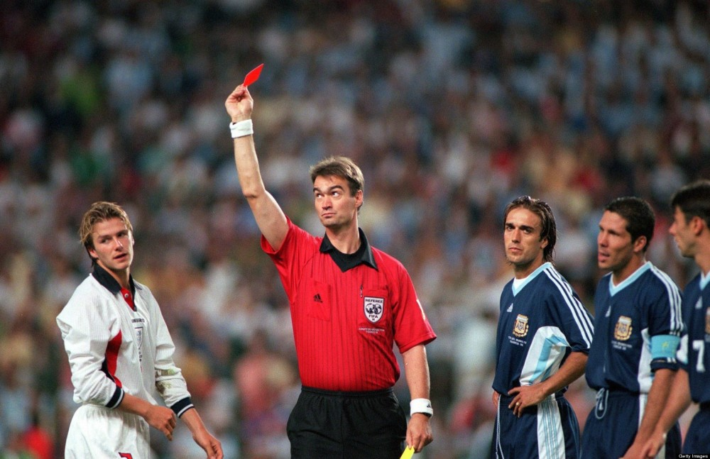 BT World Cup 1998 Finals, St, Etienne, France, 30th June, 1998, England 2 v Argentina 2 (Argentina win 4-3 on penalties), Referee Kim Milton Nielsen sends off England's David Beckham for kicking out at Diego Simeone
