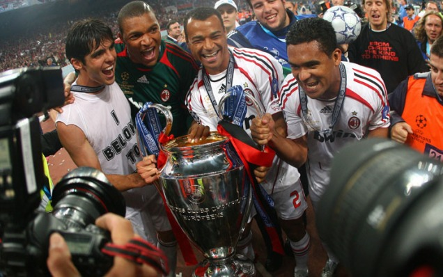 (from left) AC Milan's Brazilians player